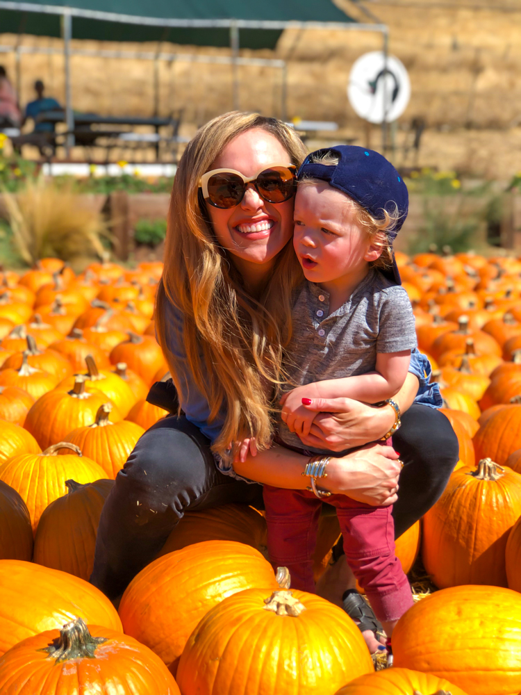 Ashley and Brady at pumpkin patch by A Lady Goes West -- October 2019