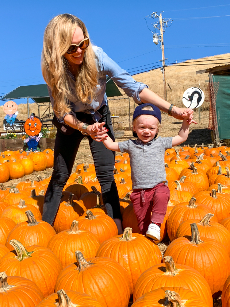 Ashley and Brady at the pumpkin patch at 2 years old by A Lady Goes West -- October 2019