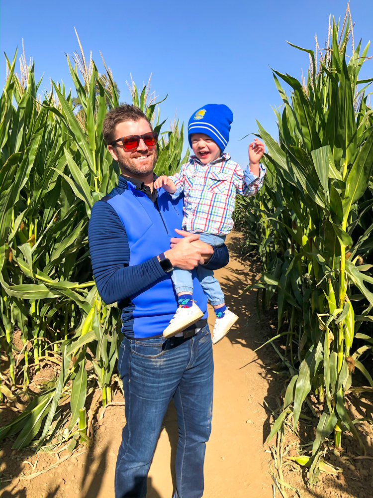 Dave and Brady at the corn maze by A Lady Goes West -- October 2019