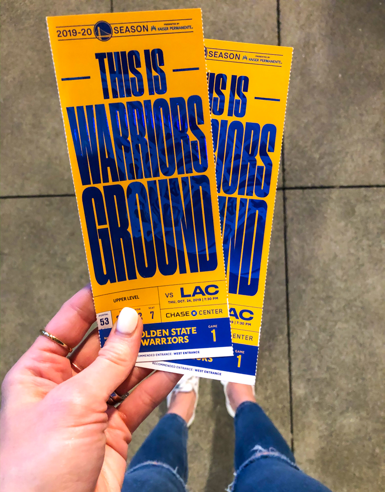 Warriors game tickets by A Lady Goes West -- October 2019