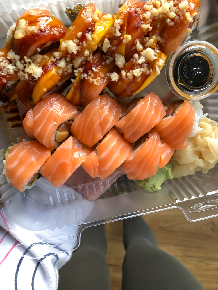 Take-out sushi - by A Lady Goes West - March 2020