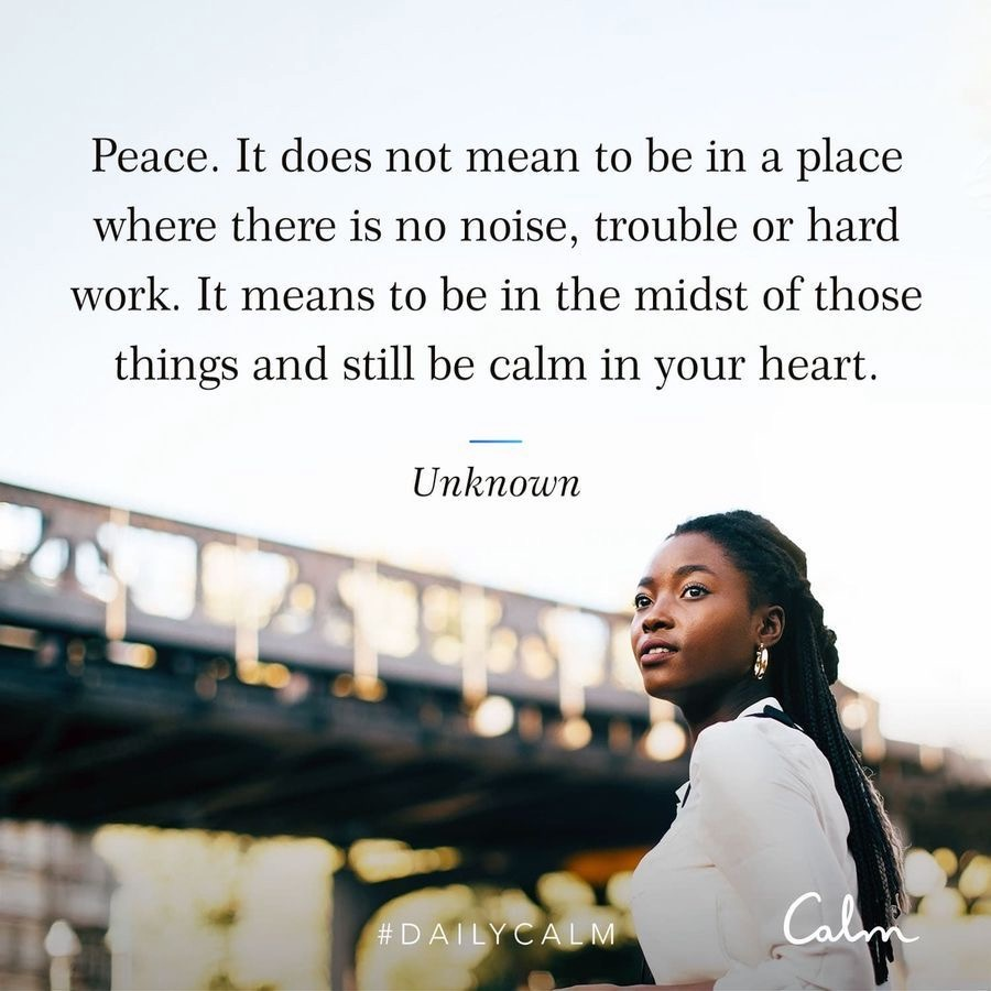 Calm app quote about peace