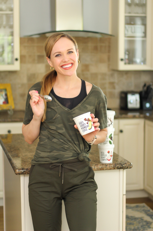 Ashley with Daily Harvest Scoops - by A Lady Goes West - June 2020