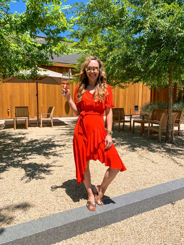 Ashley in red dress at Cakebread by A Lady Goes West - July 2020