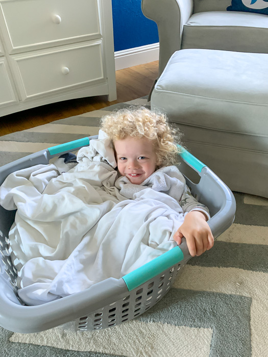 Brady in the hamper by A Lady Goes West