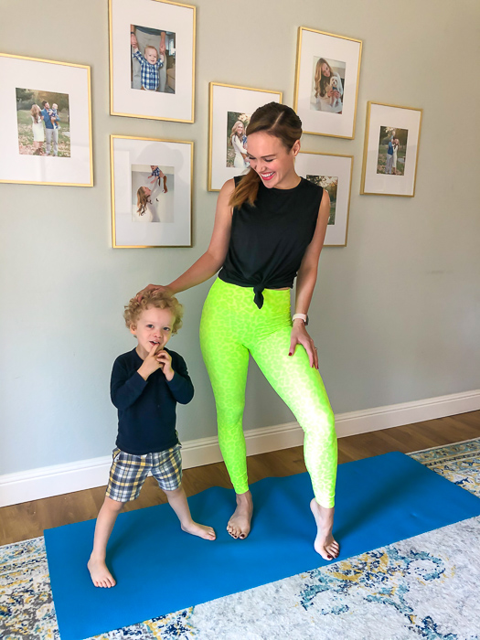 Bright lime green Beach Riot leggings by A Lady Goes West