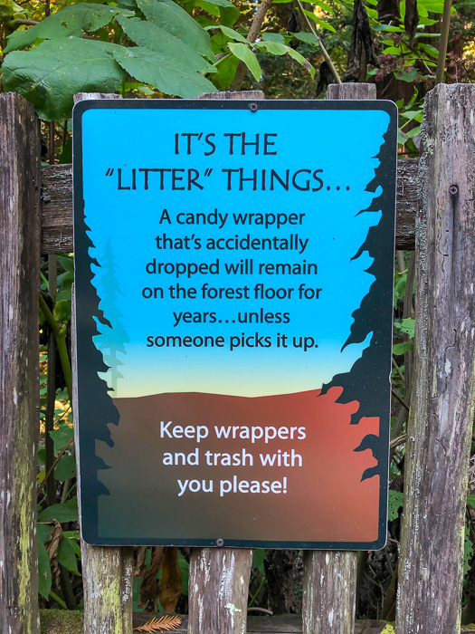Litter sign at Muir Woods by A Lady Goes West