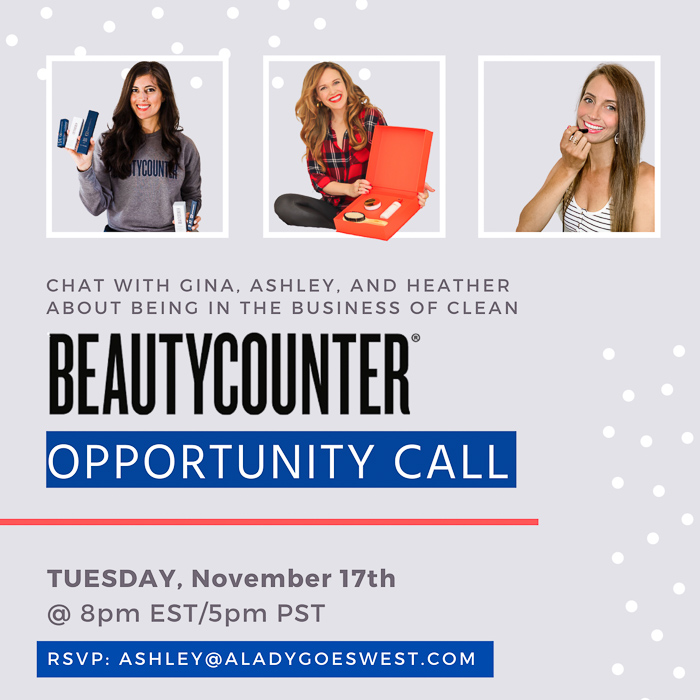 Beautycounter opportunity call by A Lady Goes West