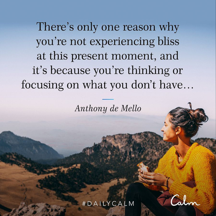 Experience bliss CALM quote by A Lady Goes West