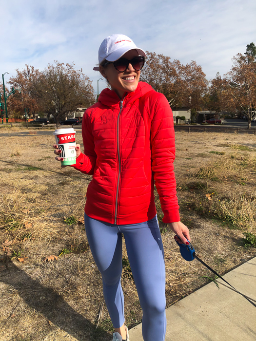 Ashley in new red Lululemon hoodie by A Lady Goes West