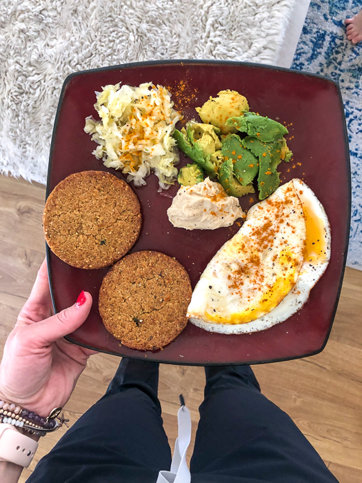 Veggie burgers, avo, eggs and sauerkraut by A Lady Goes West