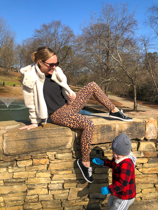Ashley and Brady at Freedom Park bridge in Charlotte by A Lady Goes West