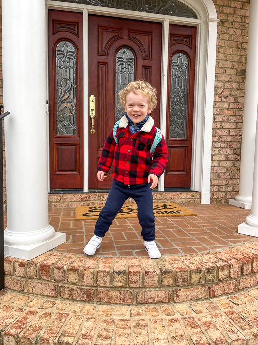 Brady's first day of Charlotte preschool 2021 by A Lady Goes West March 2021