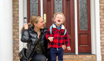 Brady's first day of Charlotte preschool in 2021 by A Lady Goes West March 2021