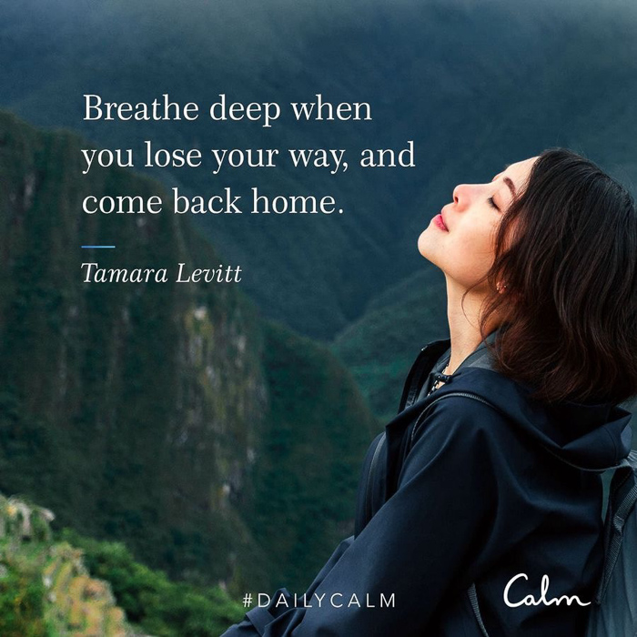 Breathe deep CALM quote by A Lady Goes West March 2021