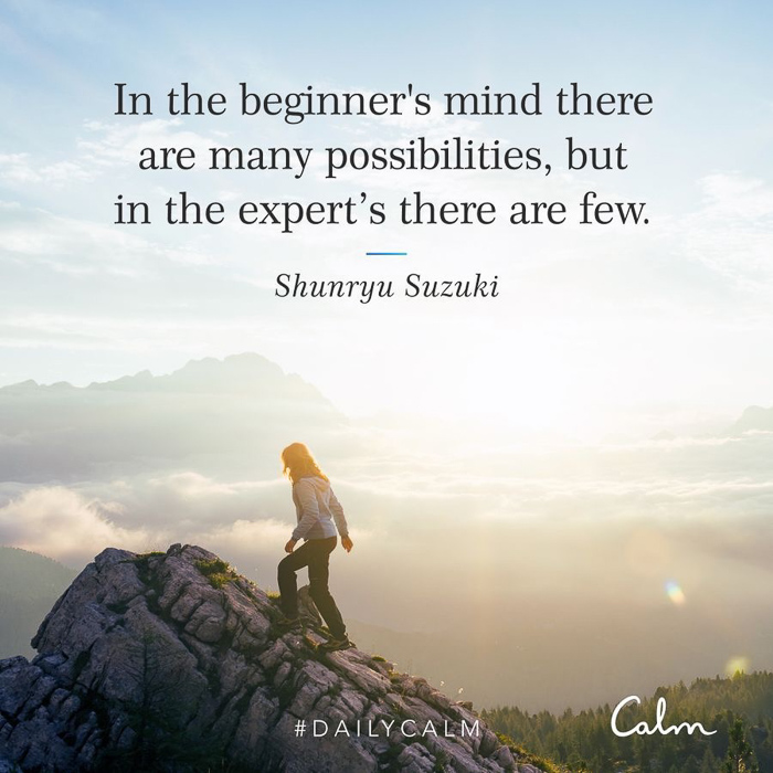 Calm quote about beginner's mind by A Lady Goes West March 2021