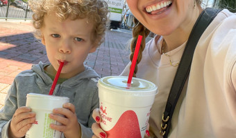 Brady and Mom at Smoothie King by A Lady Goes West April 2021