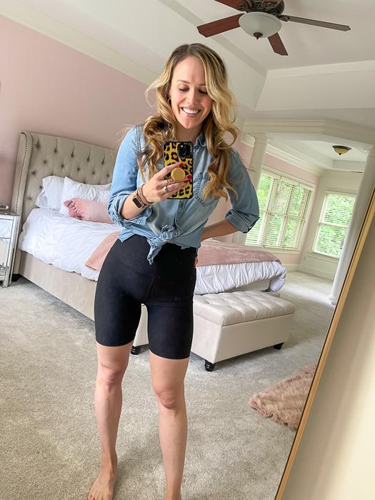 Black biker shorts by A Lady Goes West