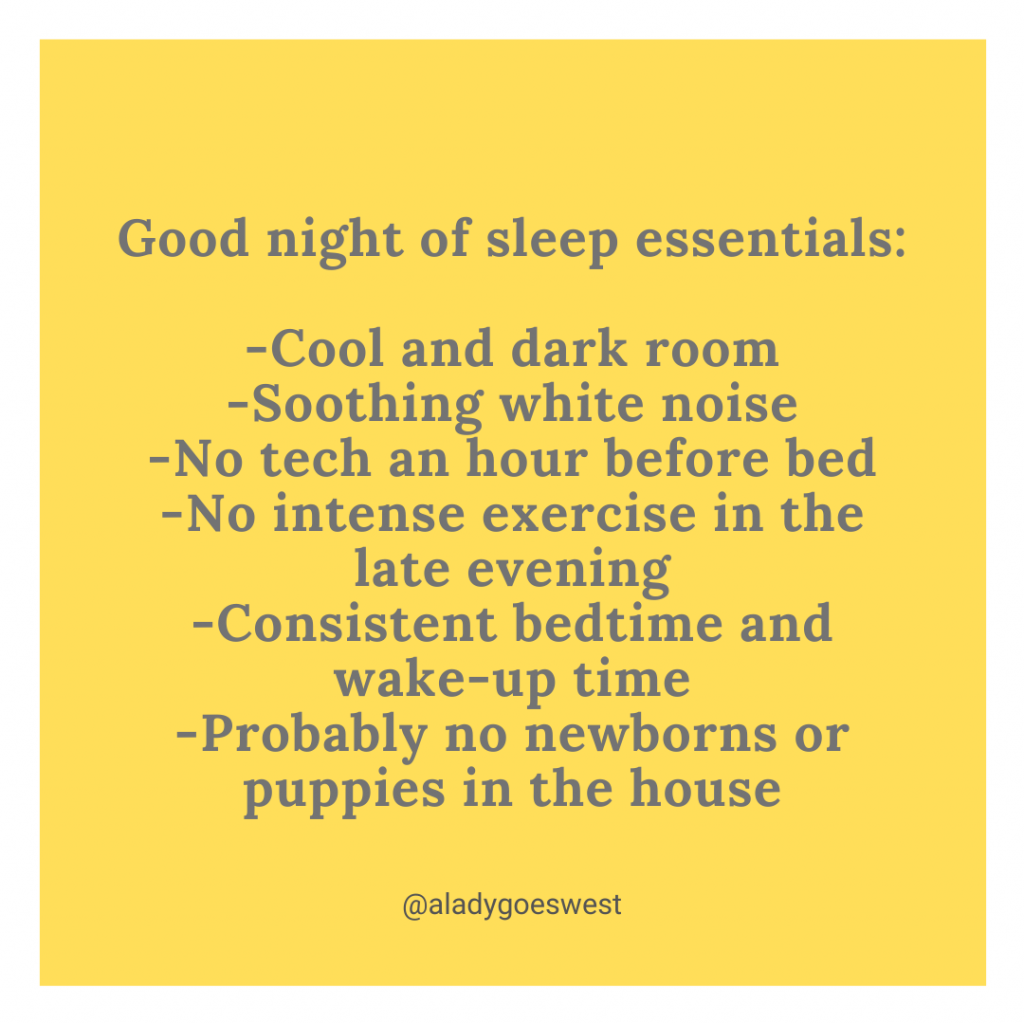 Sleep essentials by A Lady Goes West