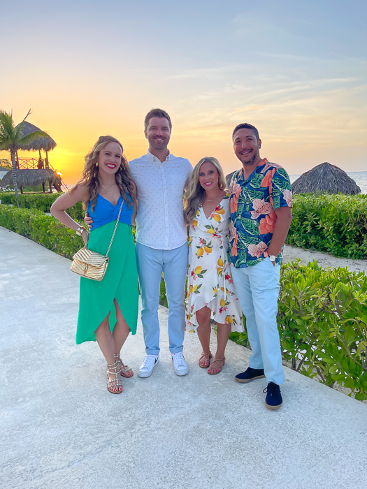 Group before dinner in Montego Bay in Jamaica by A Lady Goes West July 2021