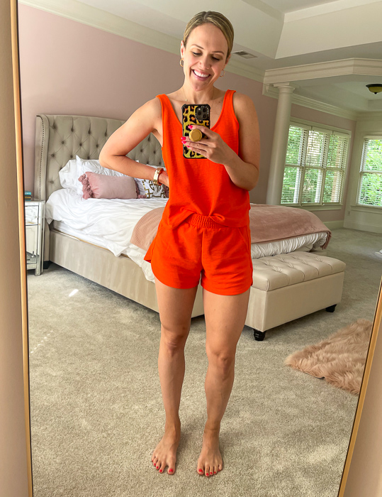Orange outfit by A Lady Goes West