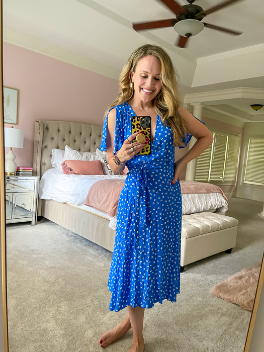 Ashley in blue dress by A Lady Goes West