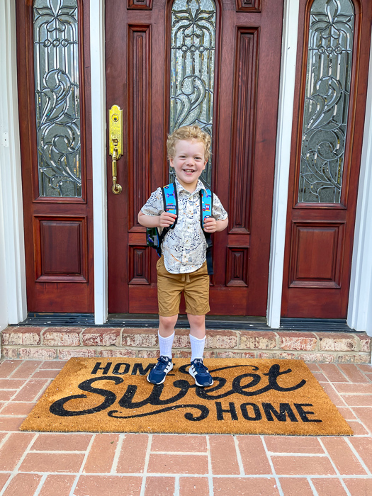 Brady first day of preschool 2021 by A Lady Goes West